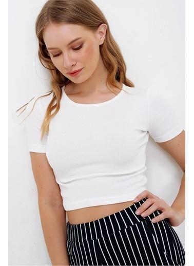Pink Park Fitlli Crop Fit Bluz SF00003 Beyaz